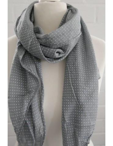 Schal Tuch Loop Made in Italy Seide Baumwolle grau weiß Kreuze
