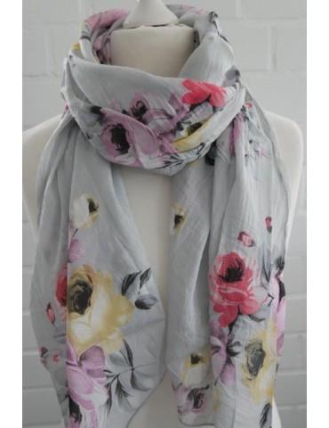 Schal Tuch Loop Made in Italy Seide Baumwolle hellgrau lila gelb bunt Blumen