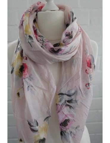 Schal Tuch Loop Made in Italy Seide Baumwolle rose gelb hellgrau bunt Blumen