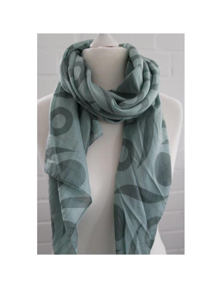 Schal Tuch Loop Made in Italy Seide Baumwolle lindgrün grün Muster