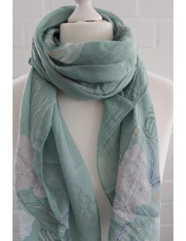 Schal Tuch Loop Made in Italy Seide Baumwolle lindgrün rose weiß bunt Blumen