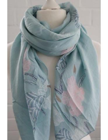 Schal Tuch Loop Made in Italy Seide Baumwolle min grün rose weiß blau bunt Blumen