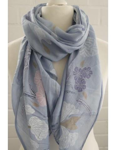 Schal Tuch Loop Made in Italy Seide Baumwolle jeansblau rose weiß blau bunt Blumen