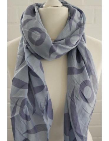 Schal Tuch Loop Made in Italy Seide Baumwolle jeansblau blau Muster