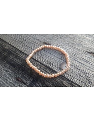 Armband Kristallarmband Perlen beige klein Glitzer Schimmer elastisch