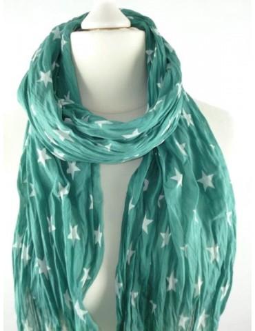 Schal Tuch Loop Made in Italy Seide Baumwolle grün weiß Sterne
