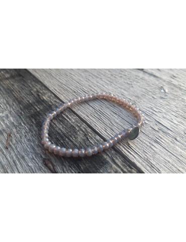 Armband Kristallarmband Perlen grau klar klein Glitzer Schimmer elastisch