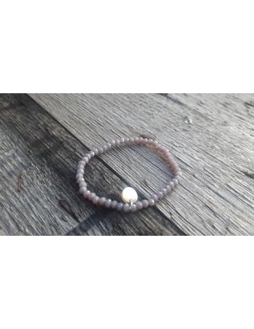 Armband Kristallarmband Perlen grau klein Glitzer Schimmer elastisch