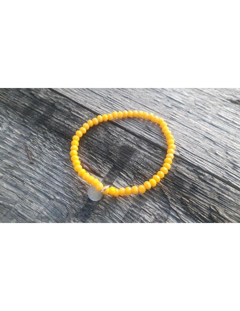 Armband Kristallarmband Perlen gelb klein Matt Glitzer Schimmer elastisch