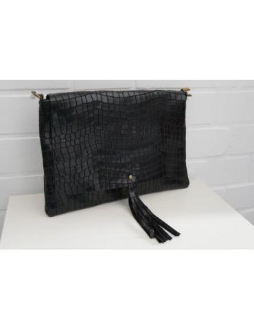 Damen Echt Leder Handtasche Schultertasche schwarz black Krokolook
