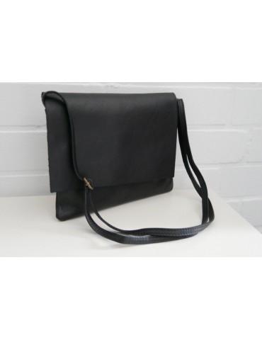 Damen Echt Leder Handtasche Schultertasche schwarz black uni glatt