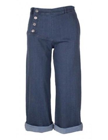 Wendy Trendy Bequeme Culotte Jeans Hose Damen blau Jeansstoff  Trend Gr. L