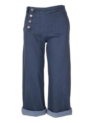 Wendy Trendy Culotte Jeans Hose Damen blau Jeansstoff  Trend