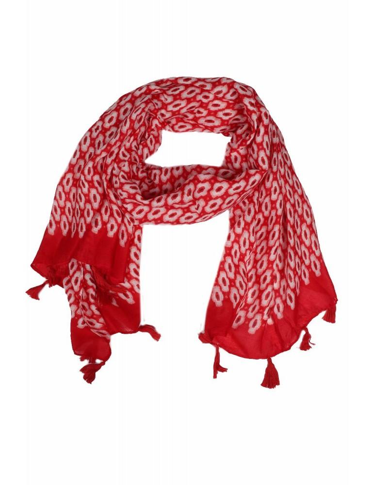 XL Schal Tuch rot rose weiß bunt Muster Tasseln Viskose