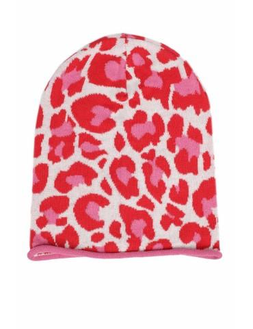 Zwillingsherz Mütze Beanie creme rot rose Leo Camouflage mit Baumwolle