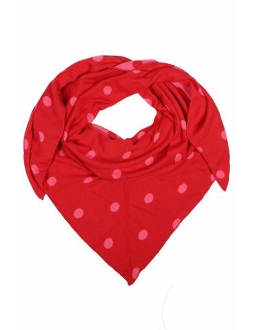 Zwillingsherz Dreieckstuch Schal rot pink mit Baumwolle Punkte