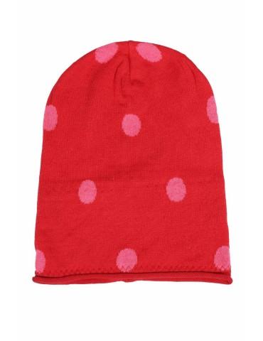 Zwillingsherz Mütze Beanie rot pink Punkte mit Baumwolle