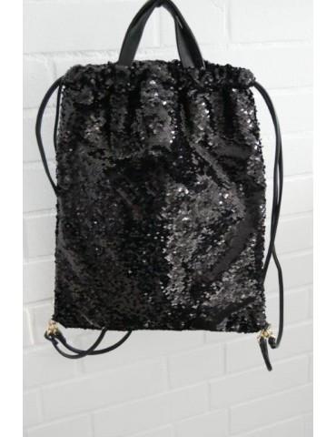 Damen Rucksack Tasche schwarz black uni Pailletten Blogger Style