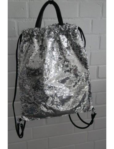 Damen Rucksack Tasche silber silver uni Pailletten Blogger Style
