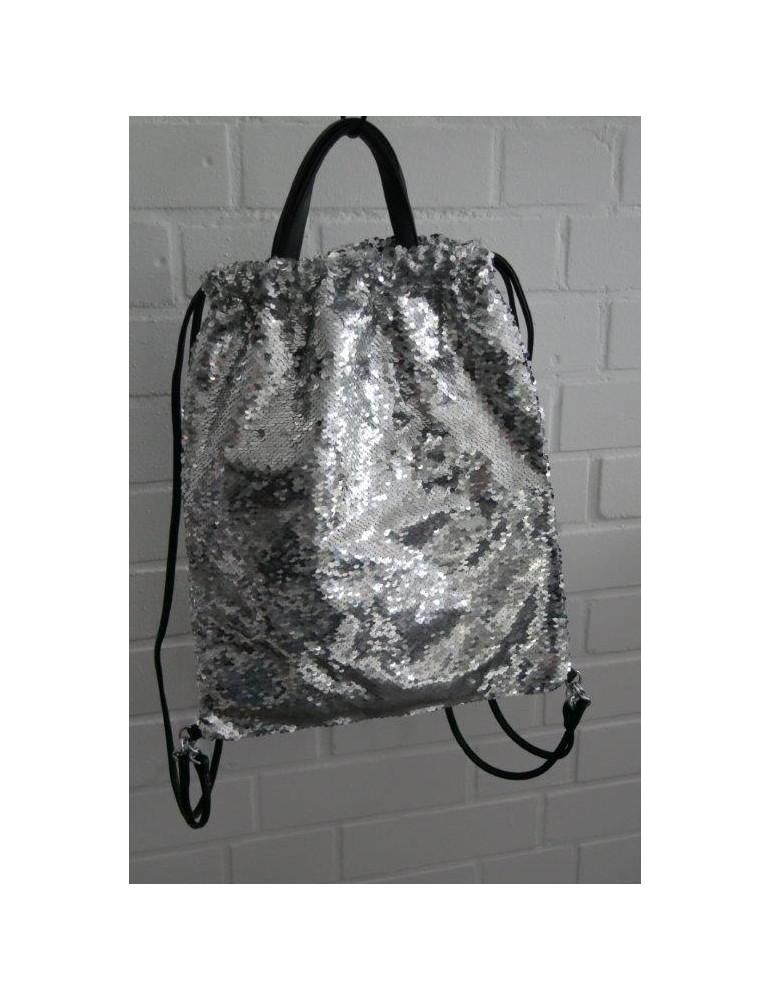 Damen Rucksack Tasche silber silver uni Pailletten Blogger ...