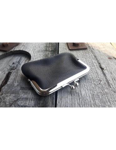 Portemonnaie Geldbörse Börse klein schwarz black silber Echtes Leder