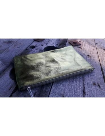 Kosmetiktasche Portemonnaie Geld Tasche Bag in Bag grün metallic Echtes Leder