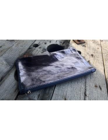 Kosmetiktasche Portemonnaie Geld Tasche Bag in Bag blau metallic Echtes Leder