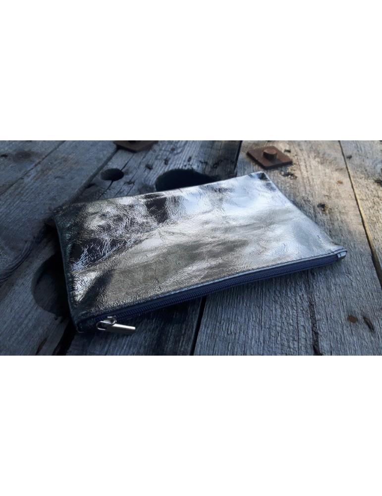 Kosmetiktasche Portemonnaie Geld Tasche Bag in Bag anthrazit grau metallic Echtes Leder