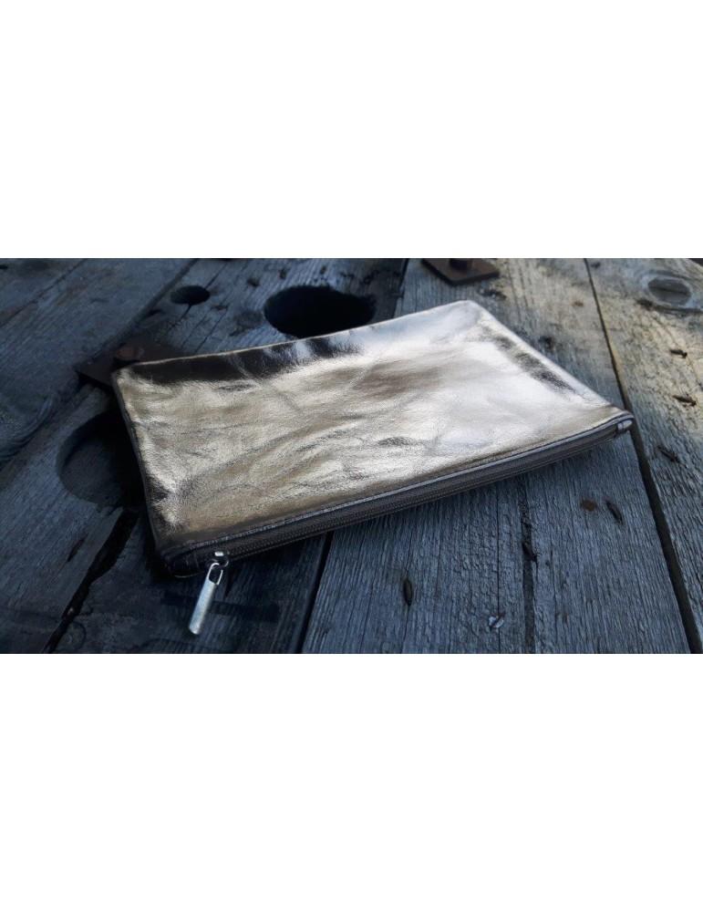 Kosmetiktasche Portemonaie Geld Tasche Bag in Bag bronze metalic Echtes Leder