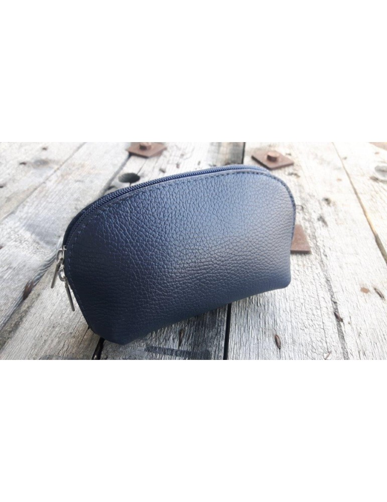 Kosmetiktasche Portemonnaie dunkelblau blau echtes Leder Made in Italy