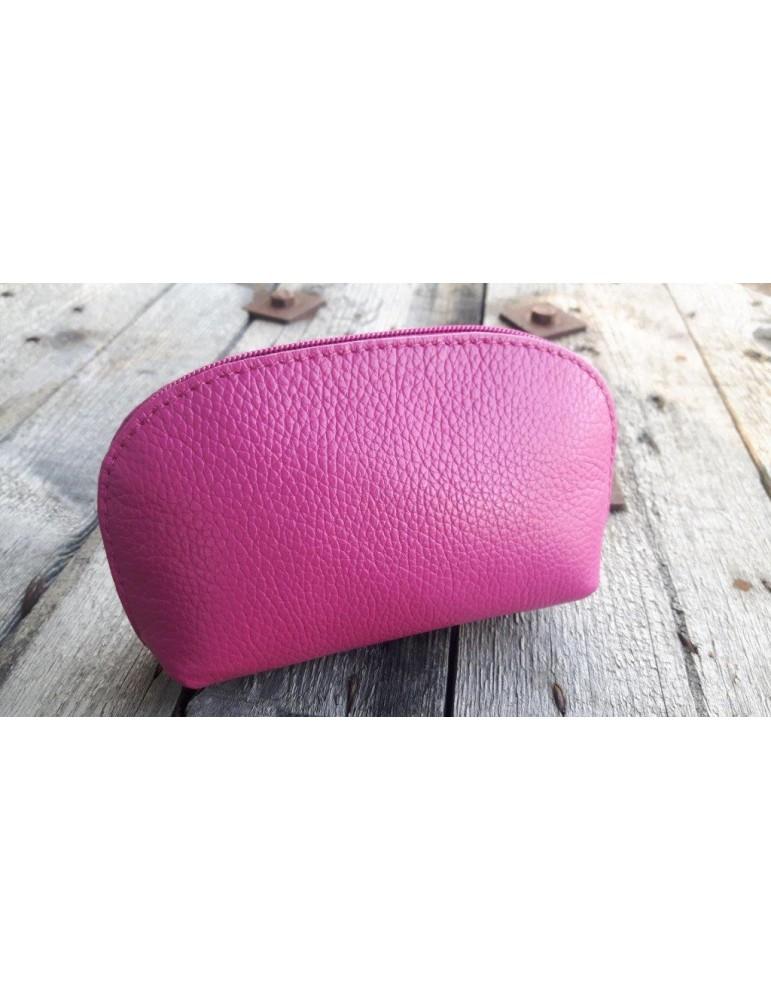 Kosmetiktasche Portemonnaie pink echtes Leder Made in Italy