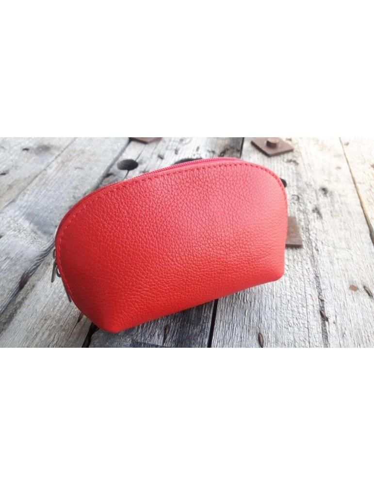 Kosmetiktasche Portemonnaie rot feuerrot echtes Leder Made in Italy