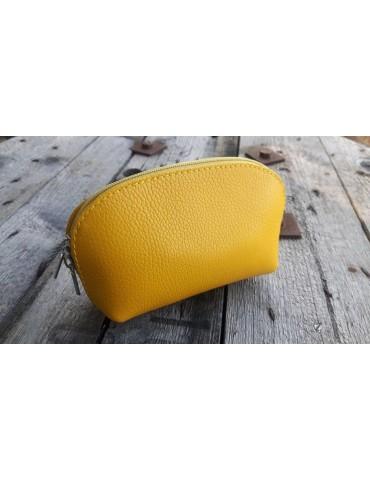Kosmetiktasche Portemonnaie gelb yellow echtes Leder Made in Italy