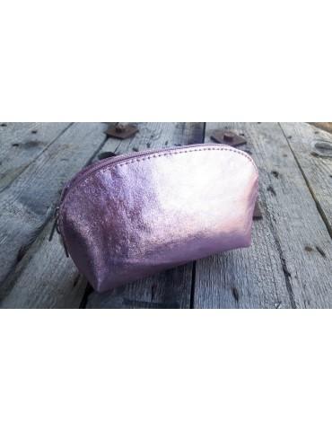 Kosmetiktasche Portemonnaie rose rosa metallic echtes Leder Made in Italy