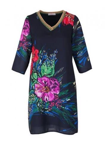 ESViViD Damen Tunika Kleid schwarz rot bunt edel schick Blumen