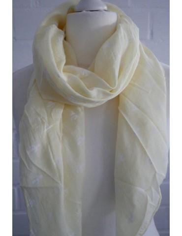 Schal Tuch Loop Made in Italy Seide Baumwolle vanille gelb weiß Kaktus Kakteen