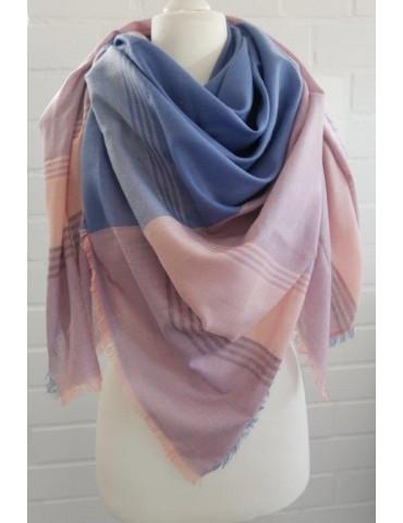 Damen Dreieckstuch Tuch Schal rose blau hellblau Karo Streifen