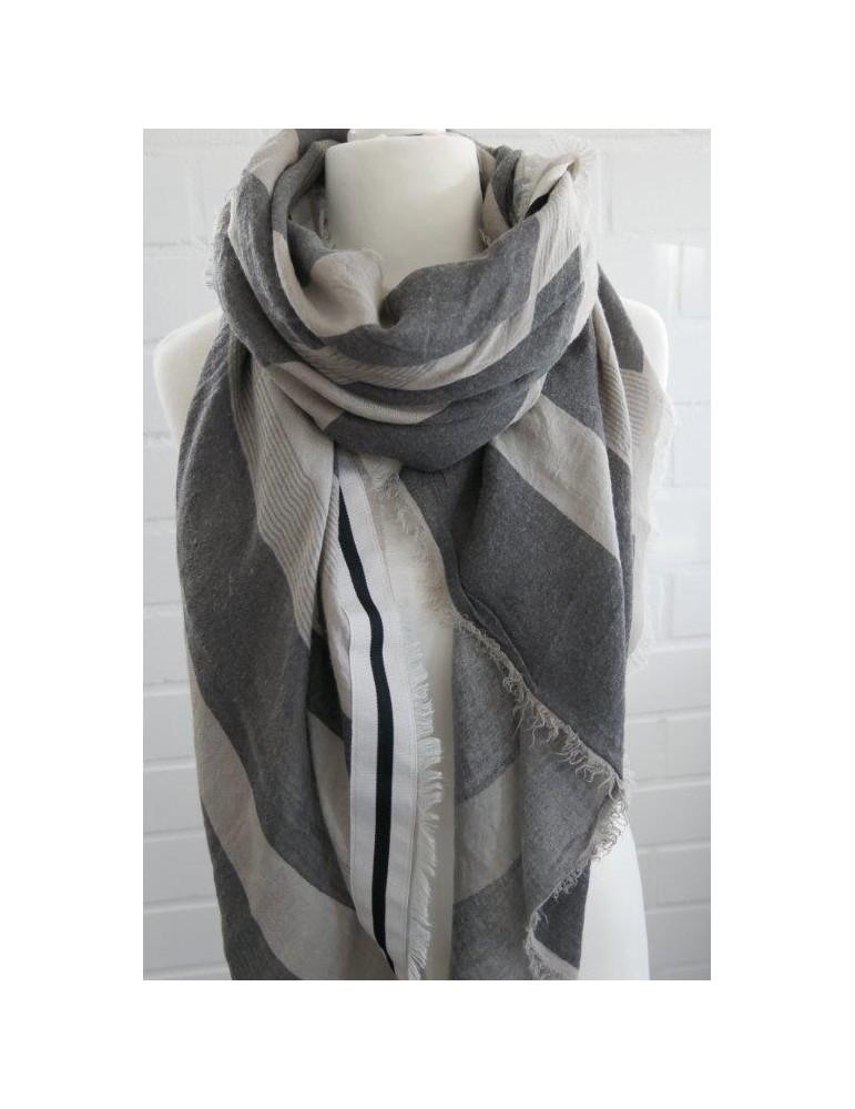 XXL Damen Schal Tuch taupe grau Streifen Embleme