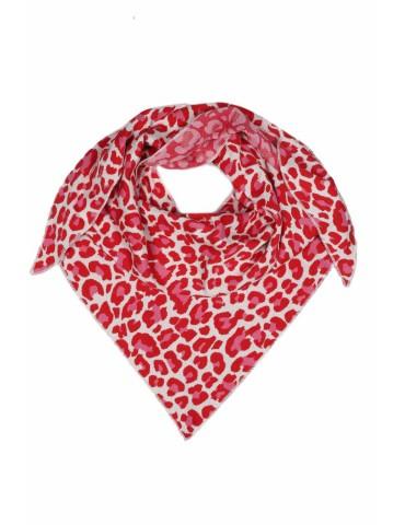 Zwillingsherz Dreieckstuch Schal weiß rot pink mit Baumwolle Leo