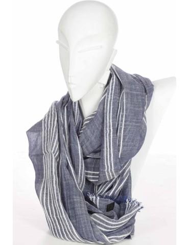 Herren Schal Tuch jeansblau blau creme Streifen Leinenoptik Viskose