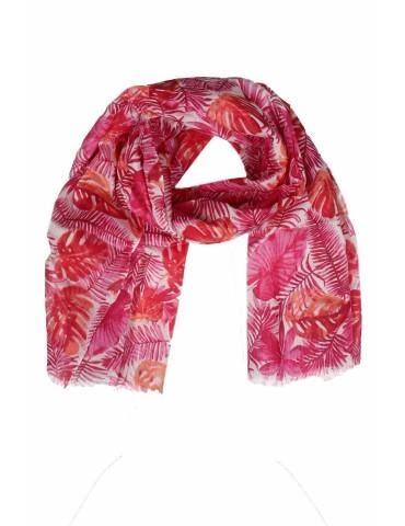 Schal Tuch rot pink lachs orange weiß Blätter Bogger Style