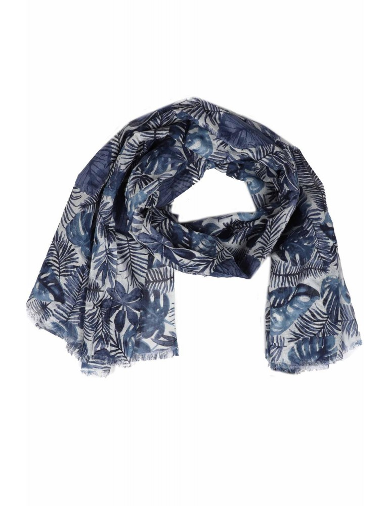 Schal Tuch dunkelblau blau bleu hellblau Blätter Bogger Style