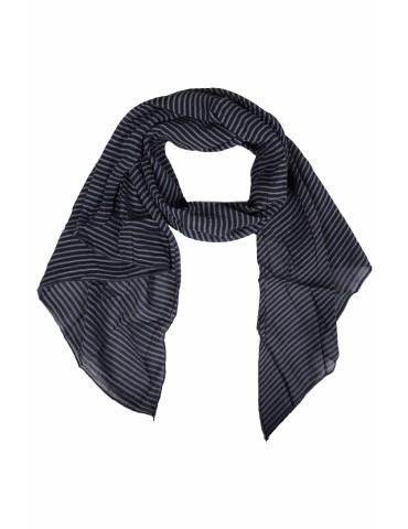 Schal Tuch Loop Made in Italy Seide Baumwolle dunkelblau hellblau Streifen
