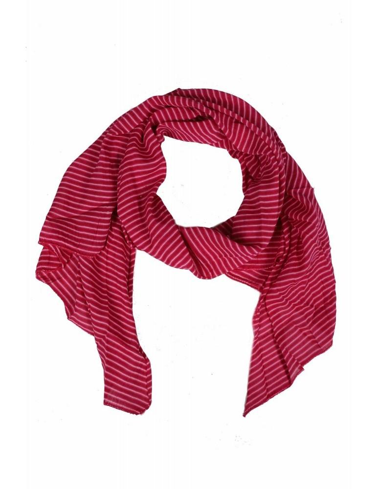 Schal Tuch Loop Made in Italy Seide Baumwolle weinrot rose Streifen