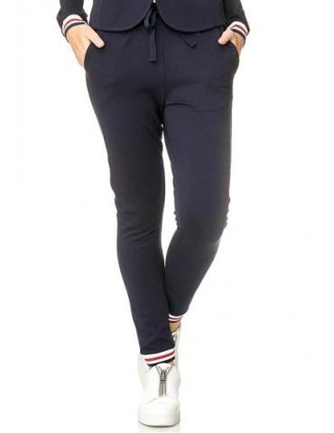 ESViViD Coole Sportliche Jersey Hose Chino dunkelblau weiß rot Bündchen 9033