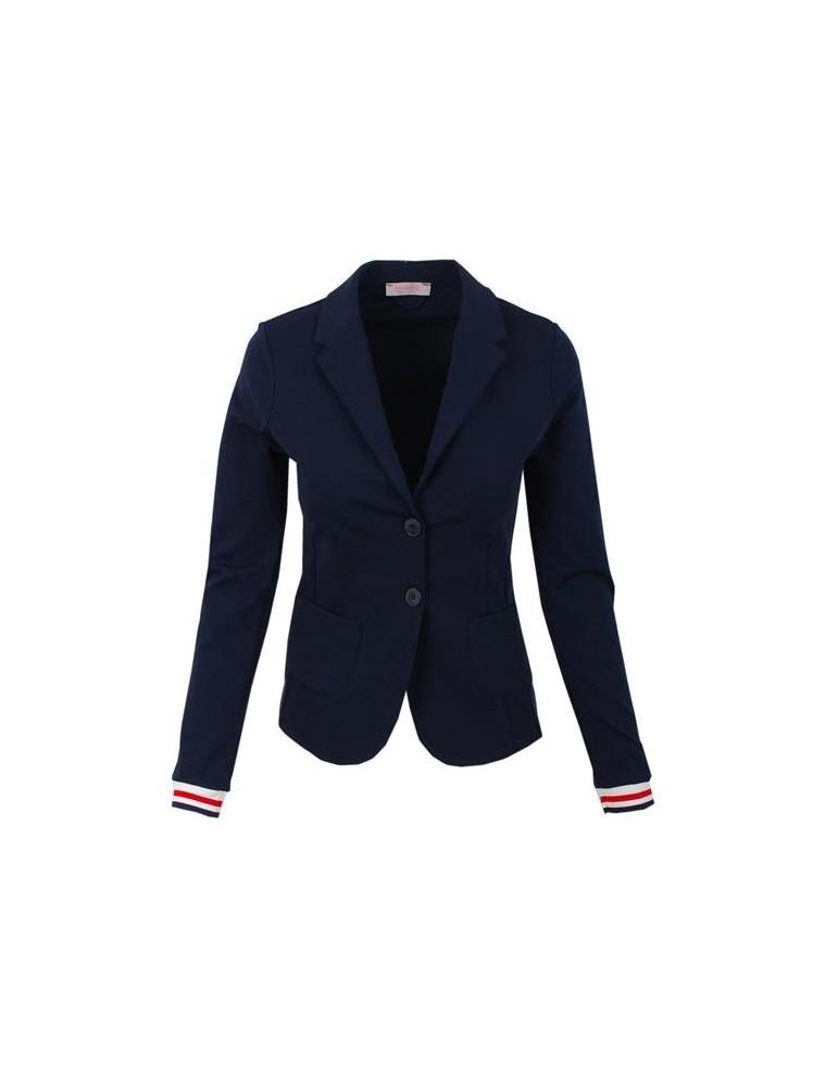 Esvivid Bequemer Sportlicher Jersey Blazer Buisness tailliert dunkelblau rot weiß Bündchen