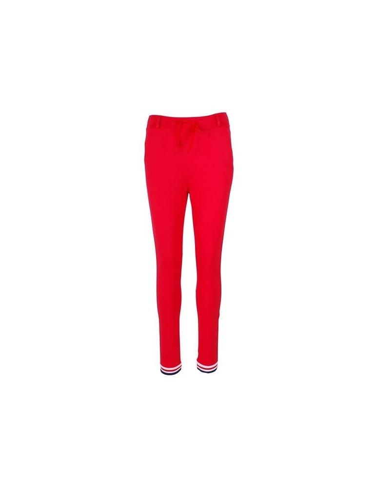 ESViViD Coole Sportliche Jersey Hose Chino rot weiß dunkelblau Bündchen 9033