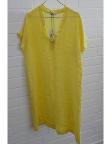 Damen Tunika Kleid 100% Leinen Linen gelb yellow Onesize ca. 36 - 40 Made in Italy