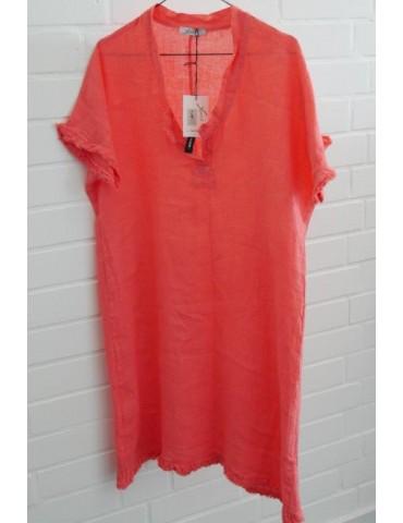 Damen Tunika Kleid 100% Leinen Linen koralle orange Onesize ca. 36 - 40 Made in Italy