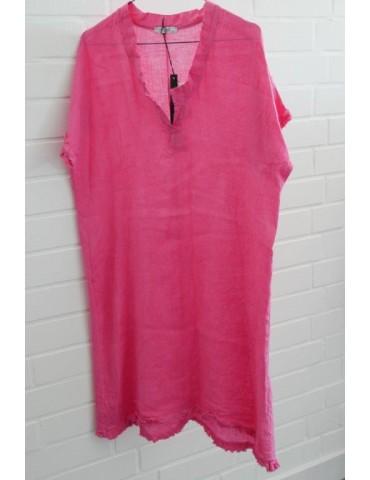 Damen Tunika Kleid 100% Leinen Linen pink Onesize ca. 36 - 40 Made in Italy